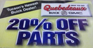 Twenty Percent Off on Parts